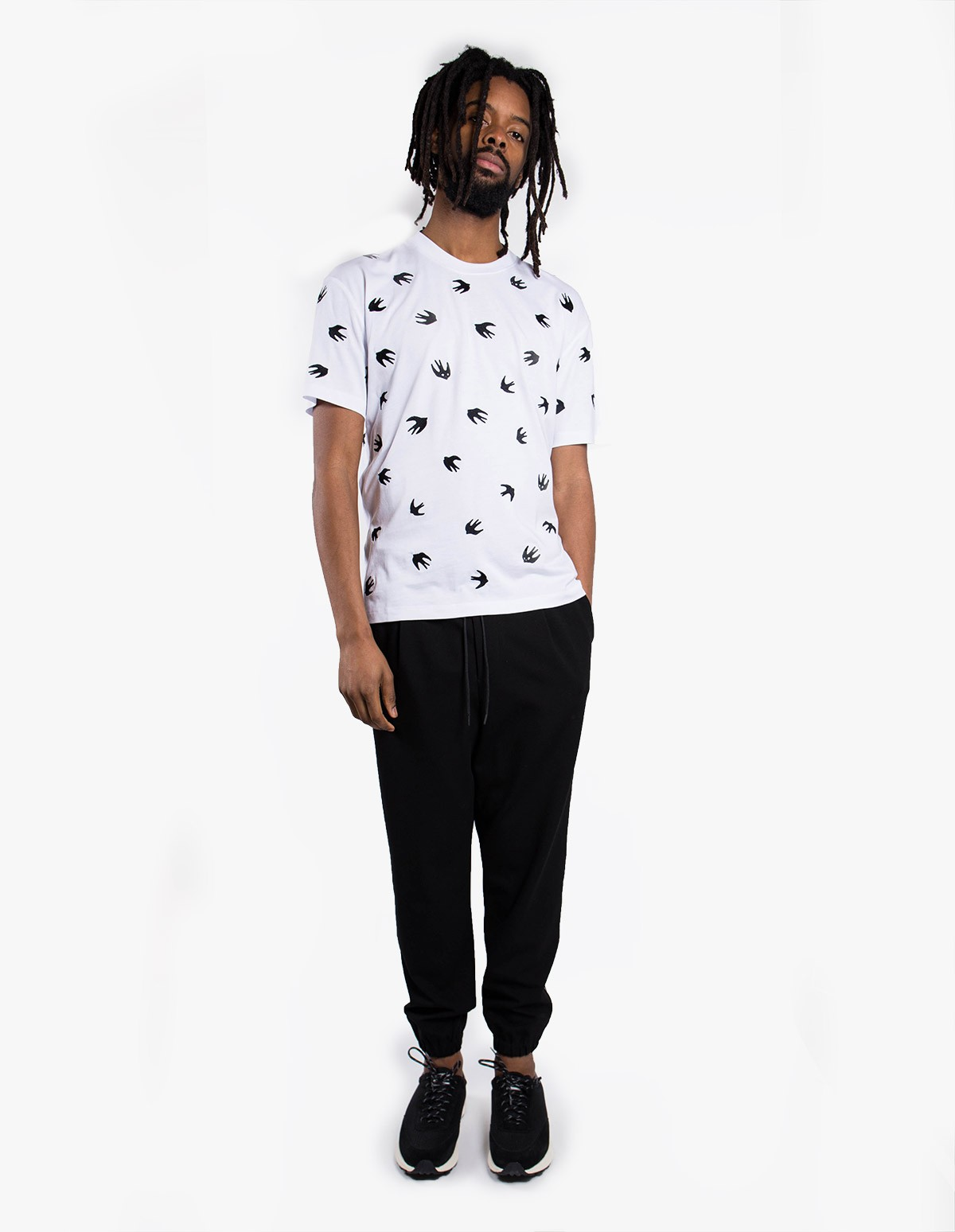 McQ Alexander McQueen Dropped Shoulder Tee in Optic White