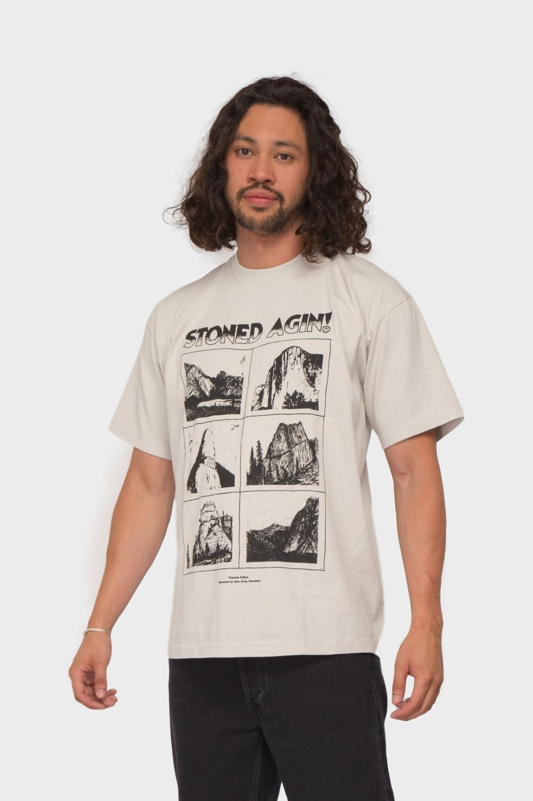 Mister Green Stoned Agin! Tee in Natural Black
