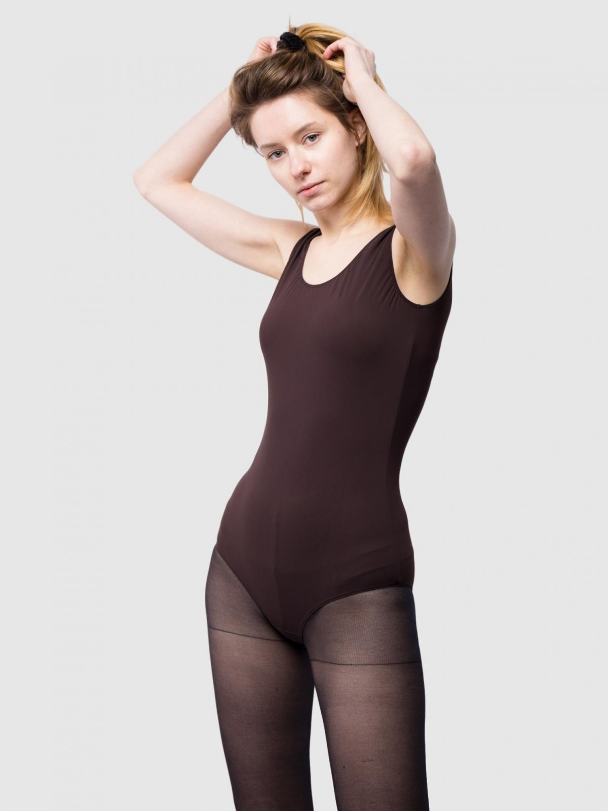 MM6 Maison Margiela Fitted Bodysuit in Brown