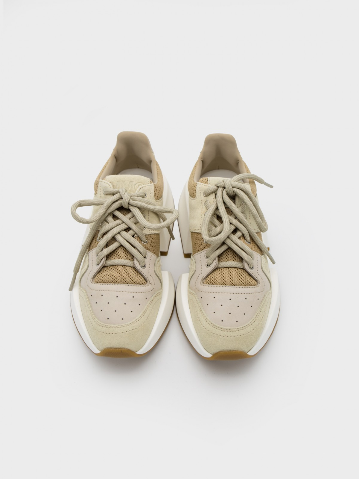 MM6 Maison Margiela Leather Runner Sneakers in Beige