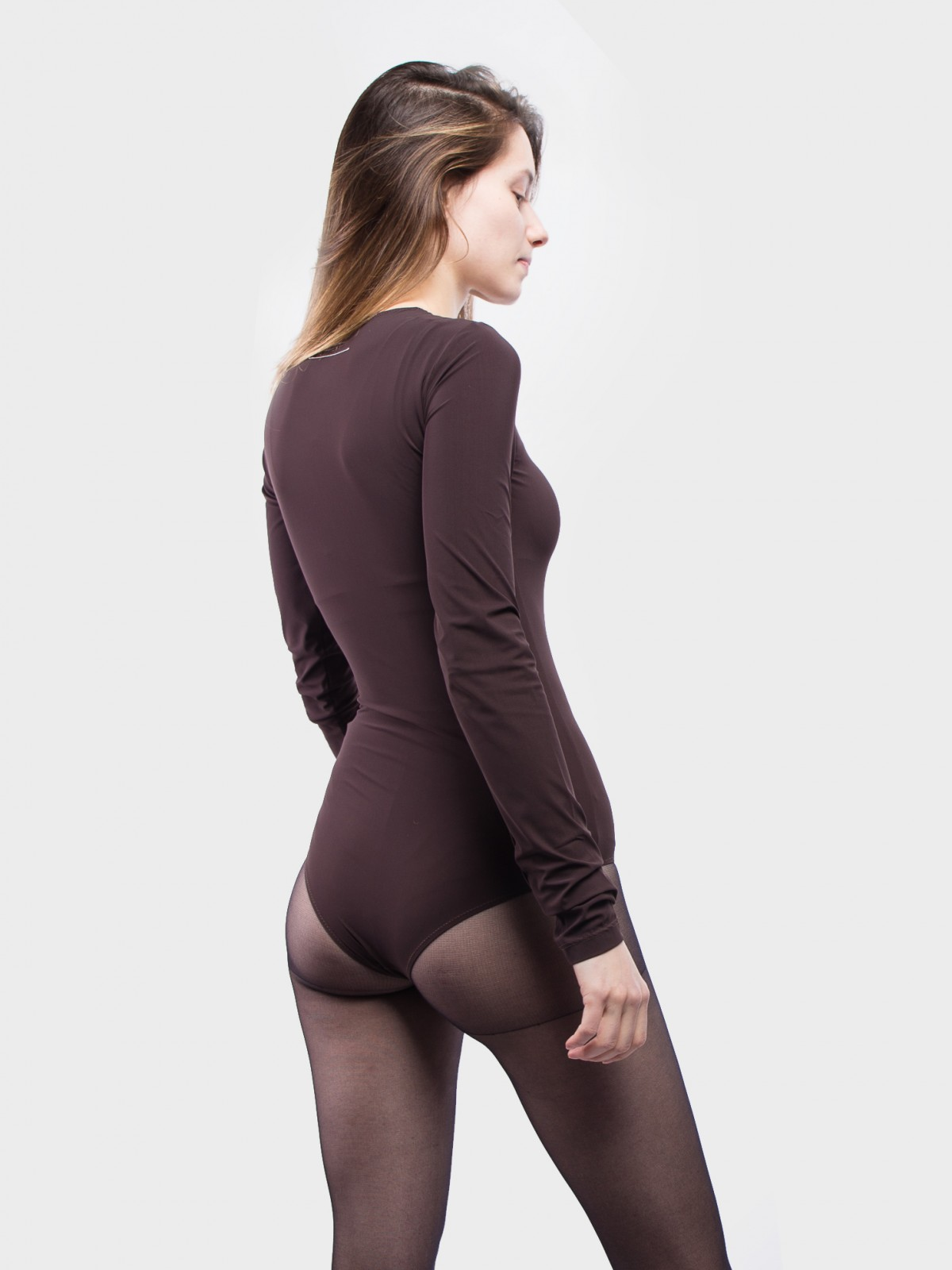 MM6 Maison Margiela Fitted LS Bodysuit in Brown