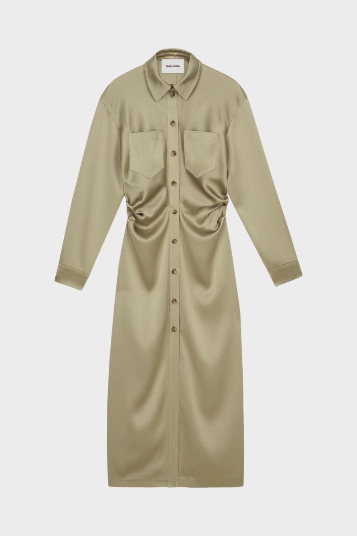 Nanushka Kinsley LS Shirt Dress in Sage