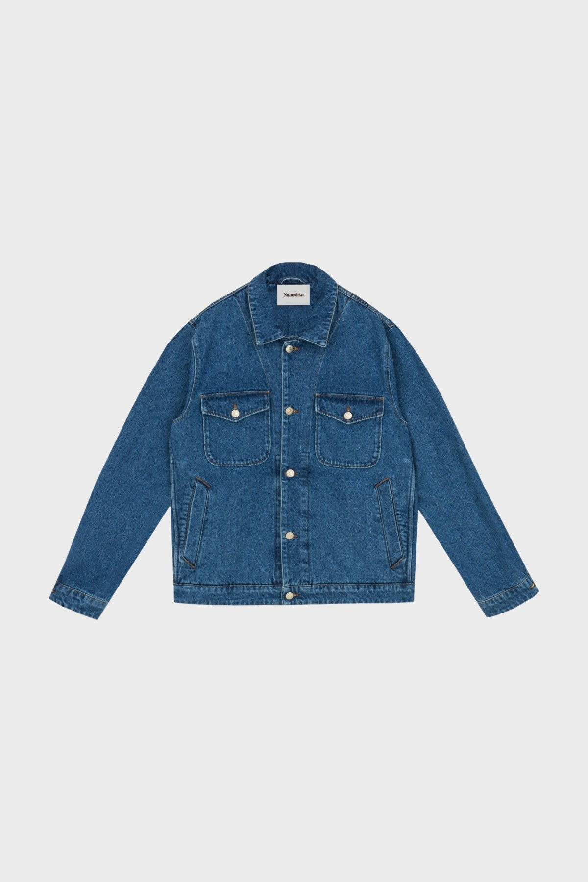 Nanushka Pax Denim Jacket in Mid Wash
