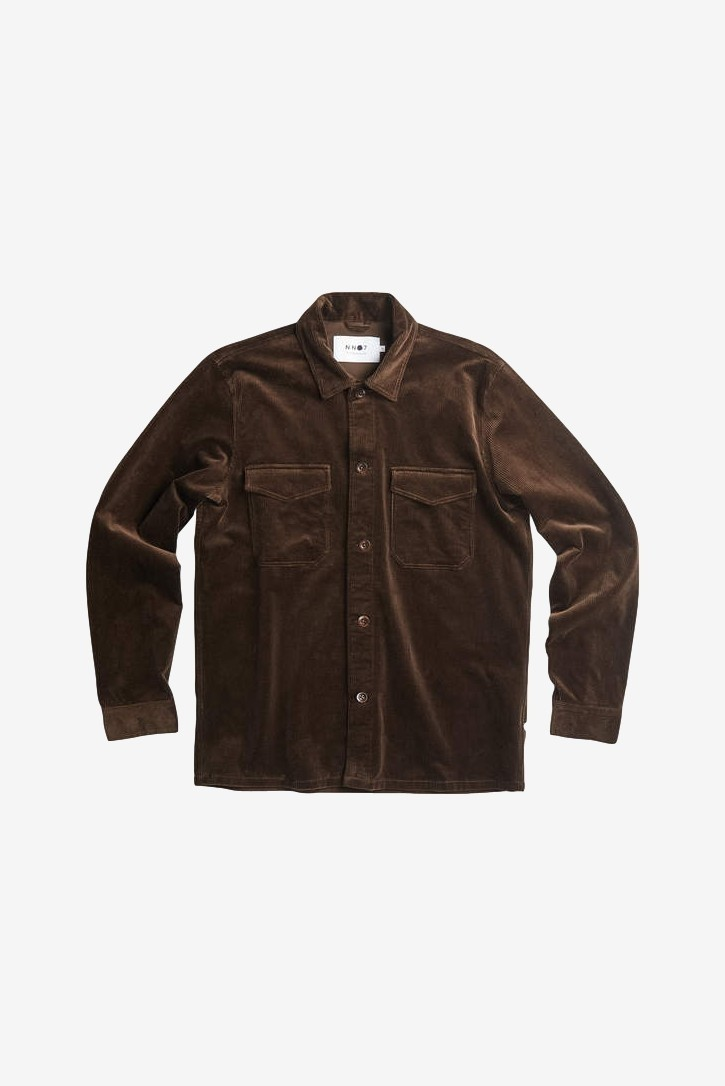 NN07 Bernard 1322 Corduroy Overshirt in Brown