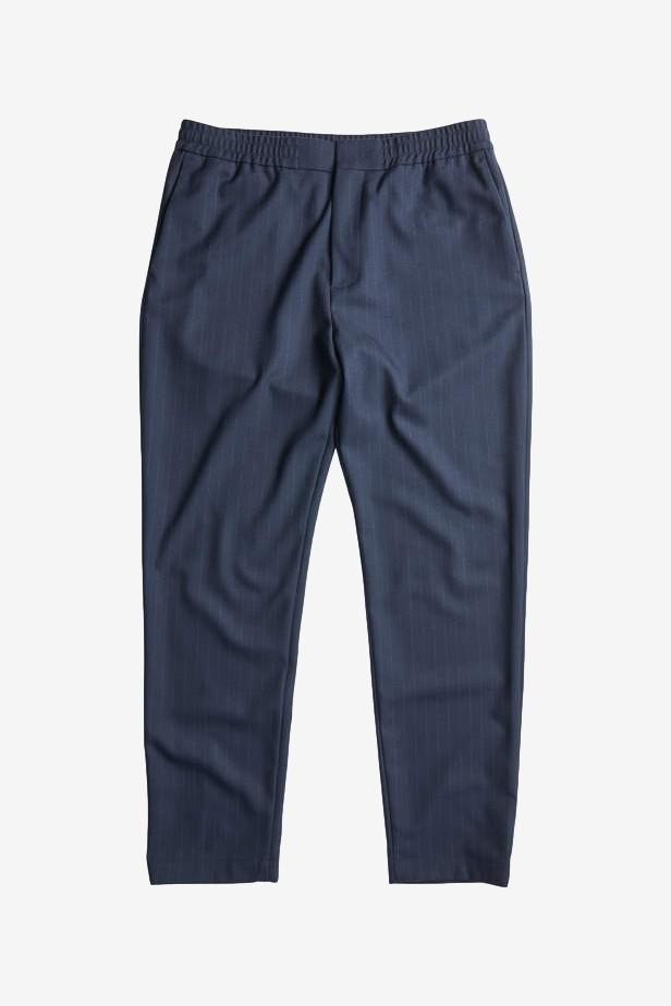 NN07 Foss 1823 Polyester Blend Trousers in Navy Stripe