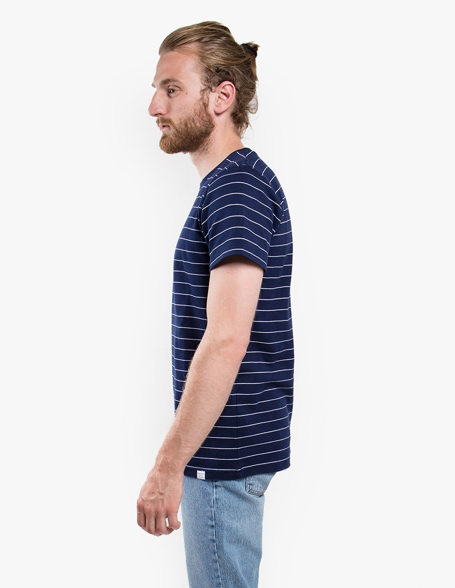 Norse Projects Esben Raised Stripe T-Shirt in Navy