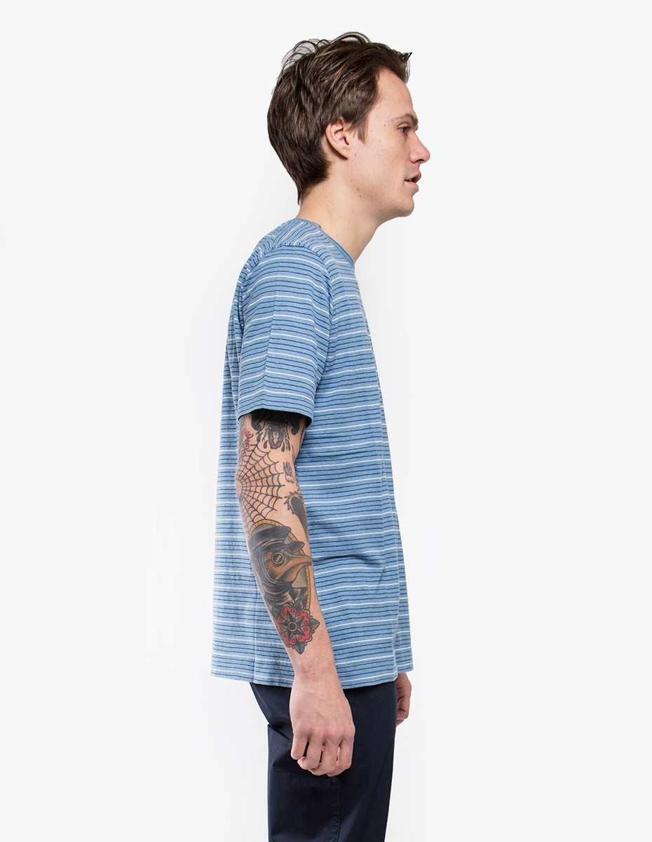 Norse Projects James Fine Stripe Short Sleeve T-Shirt in White / Navy
