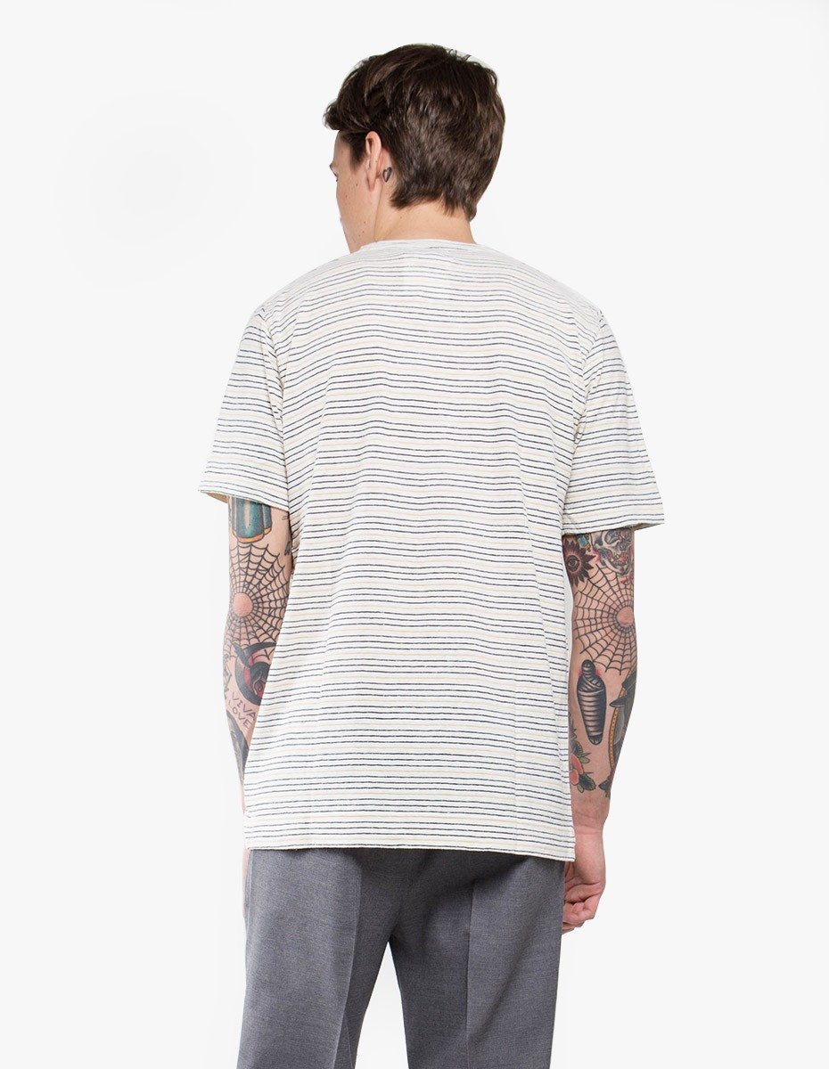 Norse Projects James Fine Stripe Short Sleeve T-Shirt in Dried Olive / Ecru