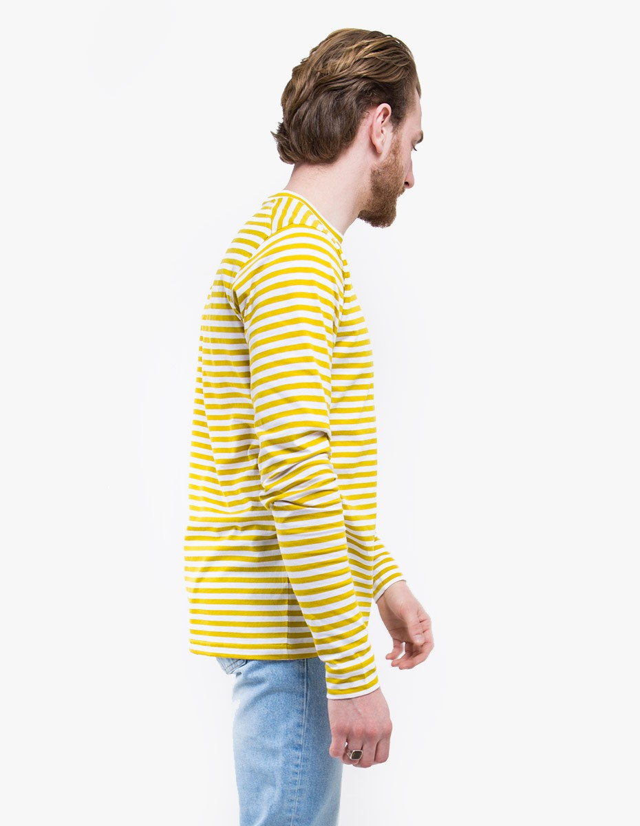 Norse Projects James Logo Stripe Long Sleeve T-Shirt in White / Edge Yellow