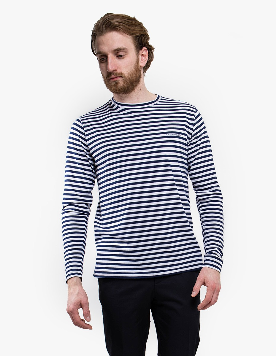 Norse Projects James Logo Stripe Long Sleeve T-Shirt in White / Navy