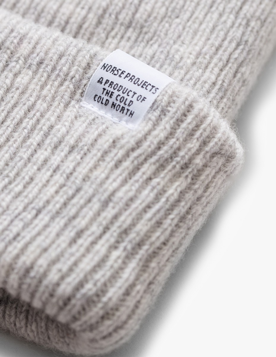 Norse Projects Norse Beanie in Light Grey Melange