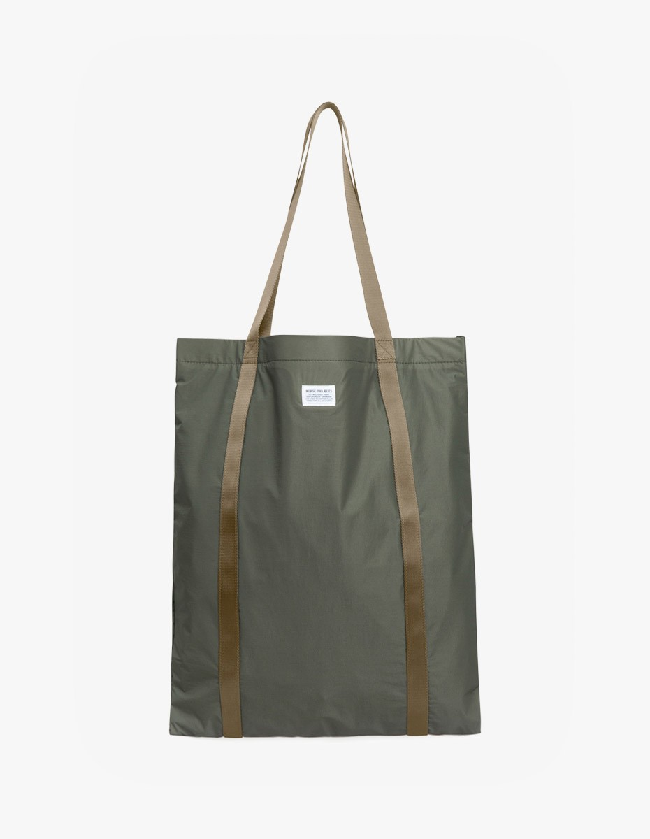 Norse Projects Ripstop Tote Bag in Dried Olive