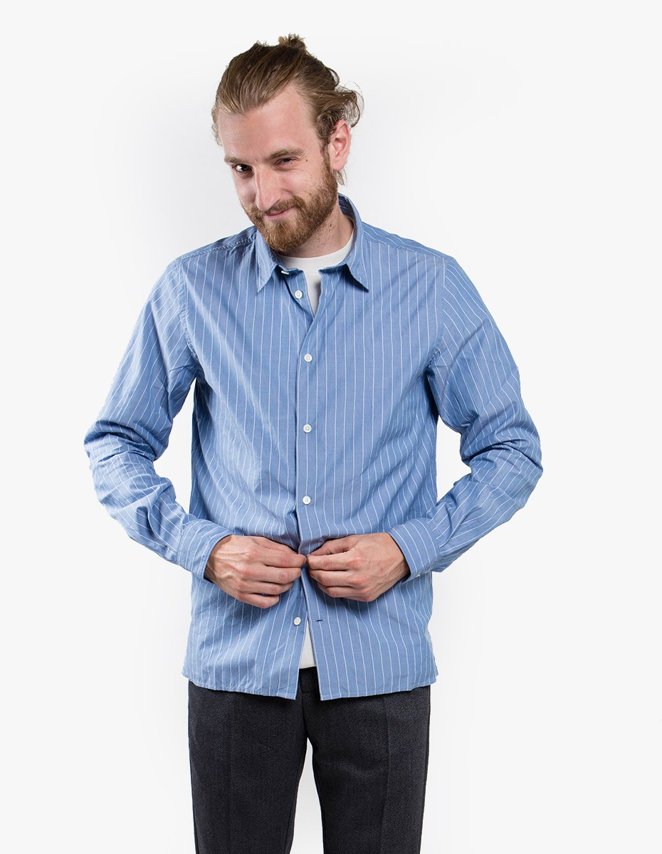 Norse Projects Theo Fine Stripe Shirt in Sky Blue