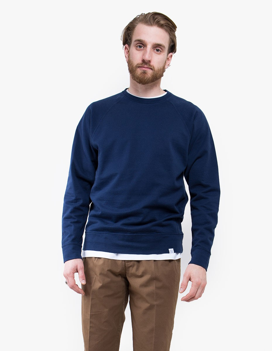 Norse Projects Vorm Mercerised Crewneck Sweatshirt in Navy