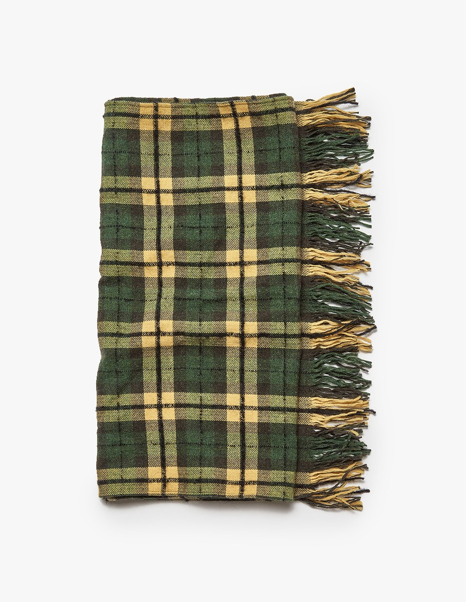 Our Legacy Scarf Boucle Check in Citron / Grass