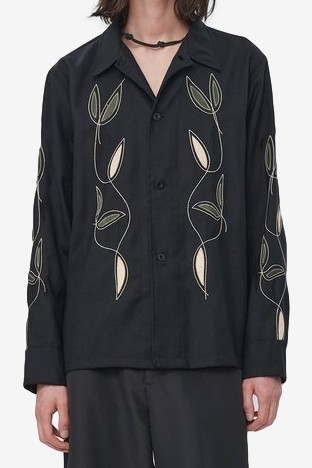 Our Legacy Box Shirt in Black Leaf Embroidery