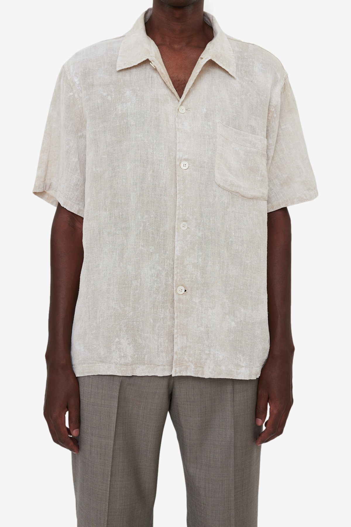 Our Legacy Box Shirt Shortsleeve in White Coated Cotton Linen