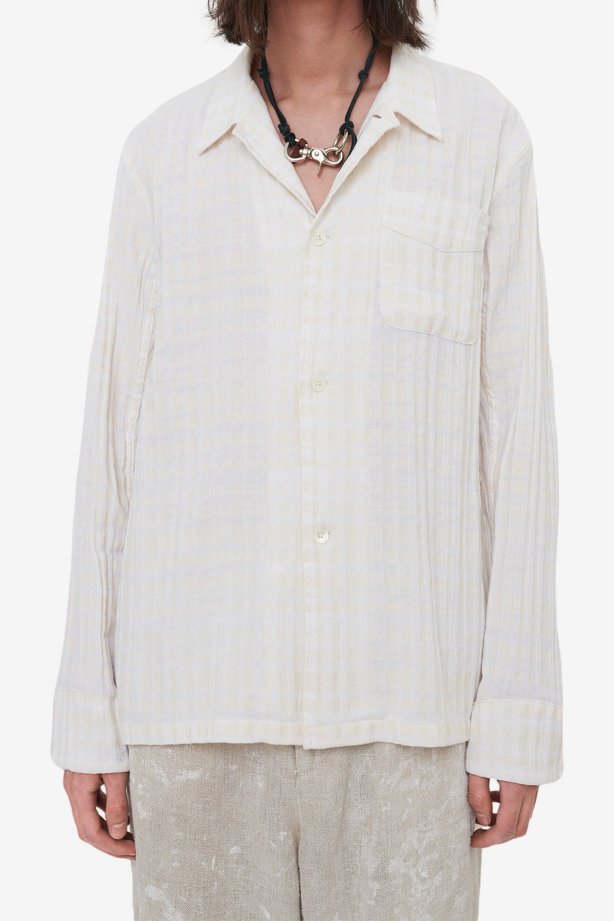Our Legacy Box Shirt in White/Beige Check