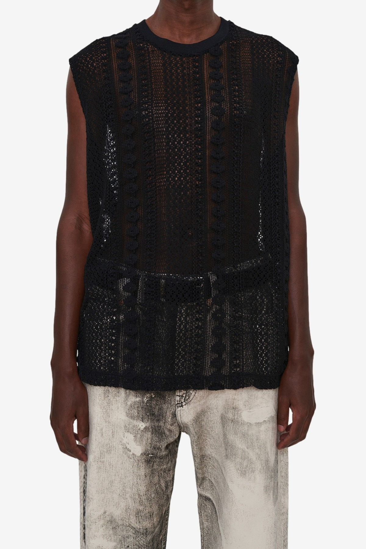 Our Legacy Box Sleeveless in Black Cotton Crochet