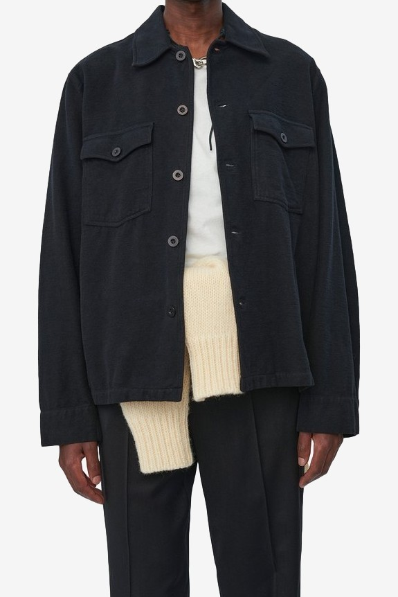 Our Legacy Evening Coach Jacket in Black Brushed Cotton