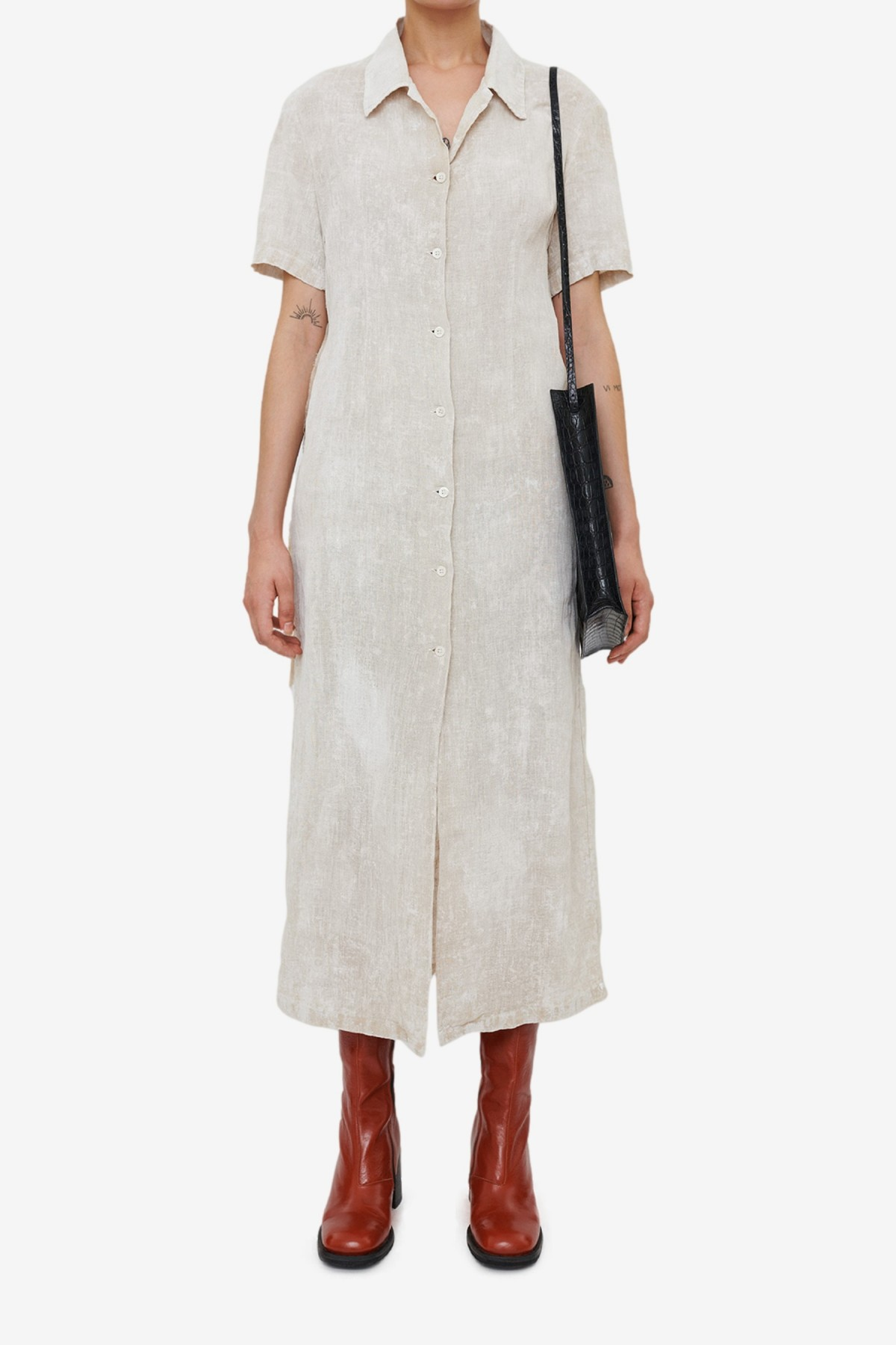 Our Legacy Narrow Shirt Dress in White Coated Cotton Linen