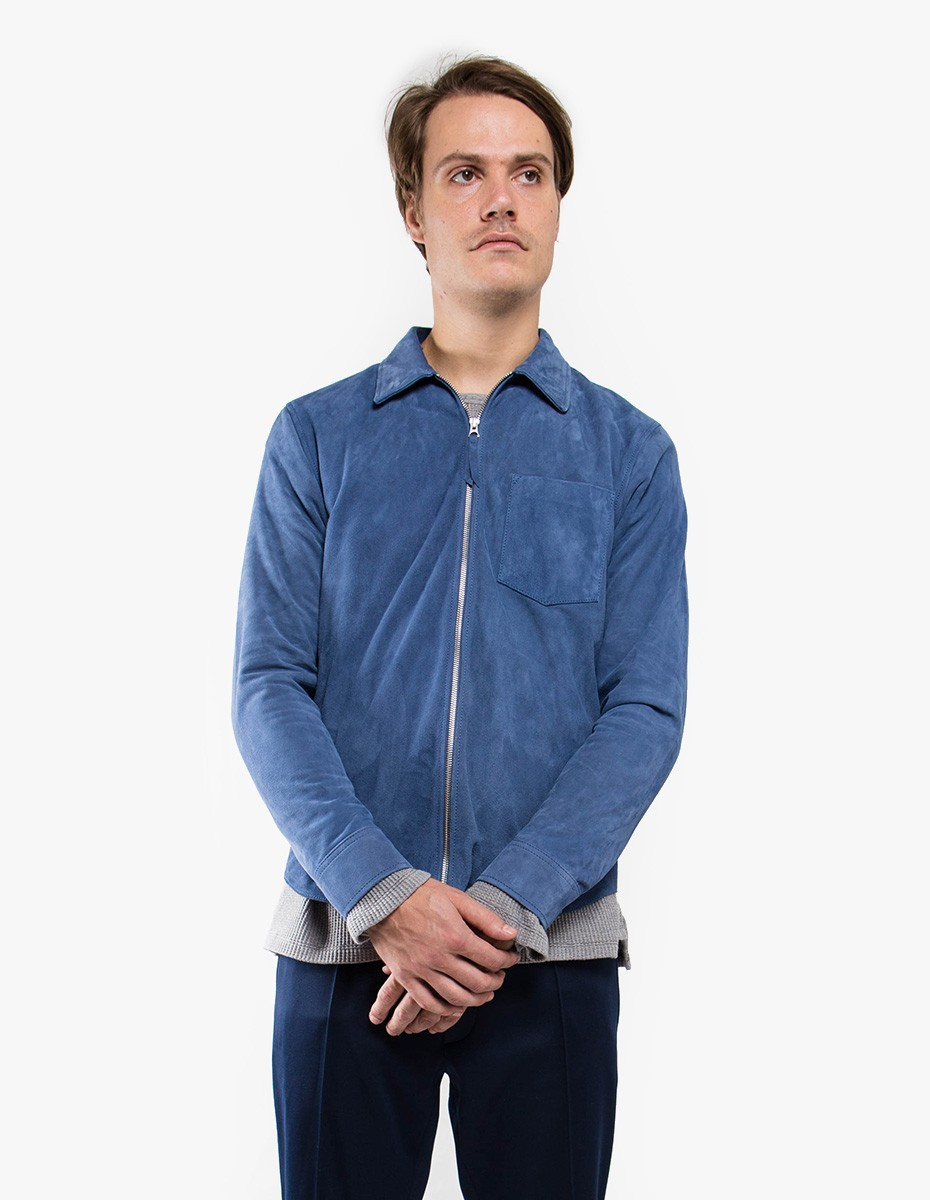 Our Legacy Suede Zip Shirt in Denim Blue