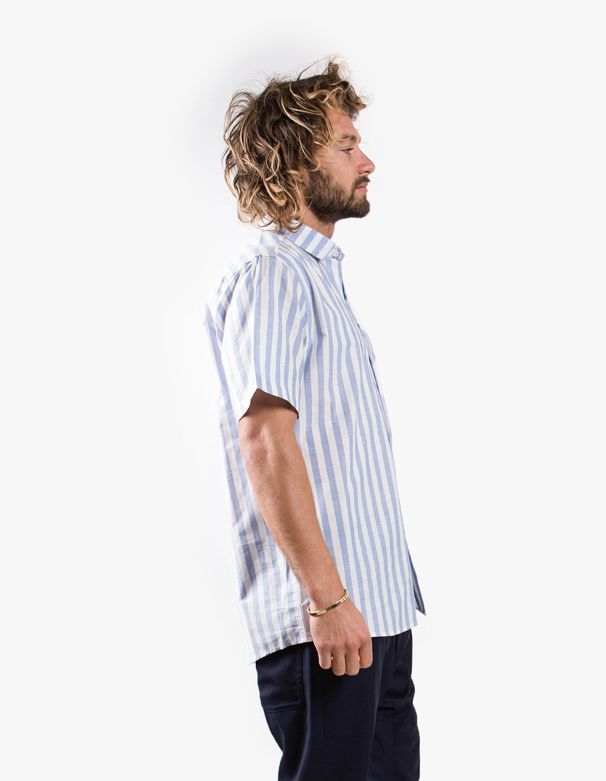 Pleasant Blue Striped S/S Shirt  in Blue