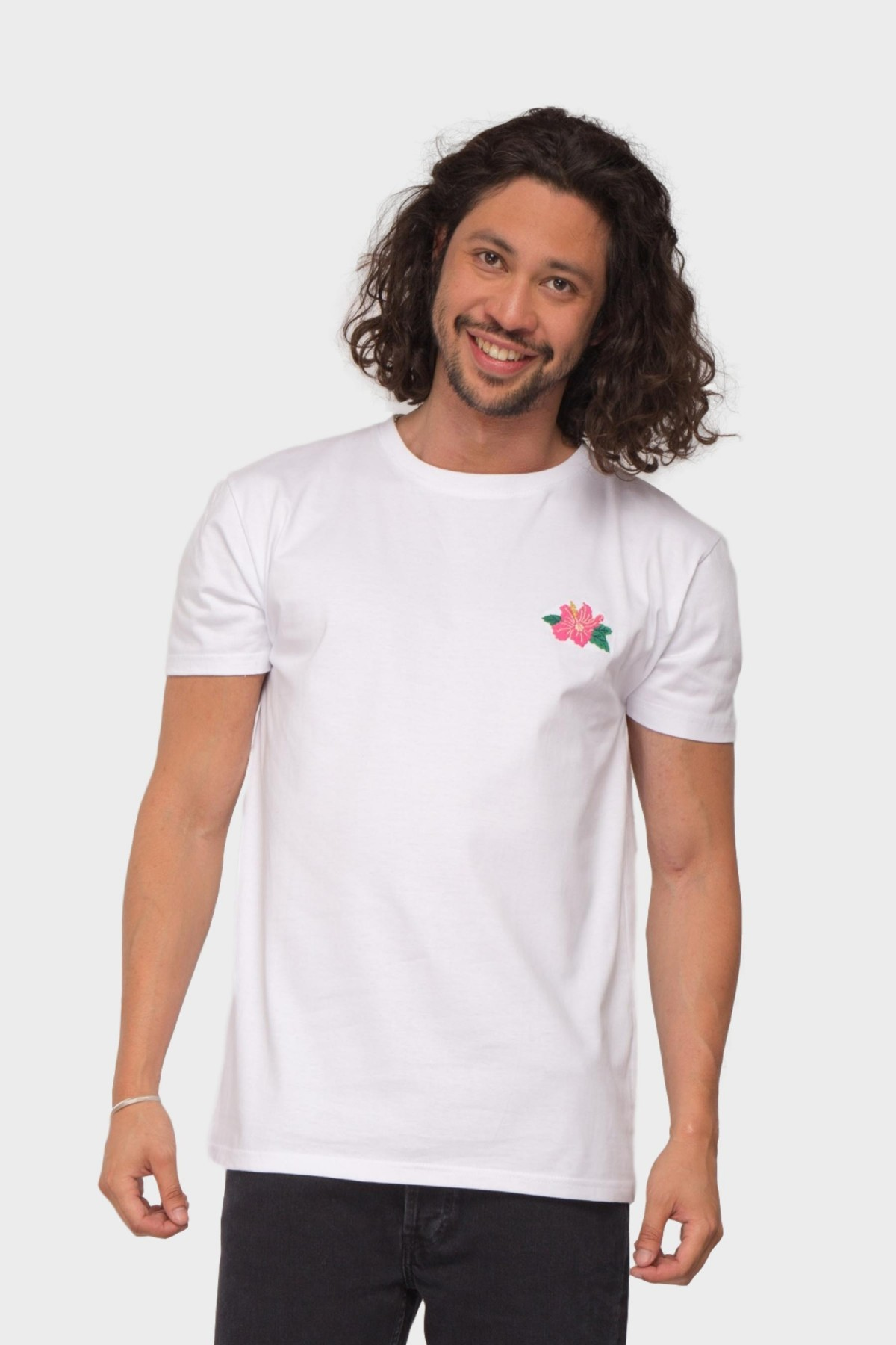 Pleasant Hibiscus Tee in White