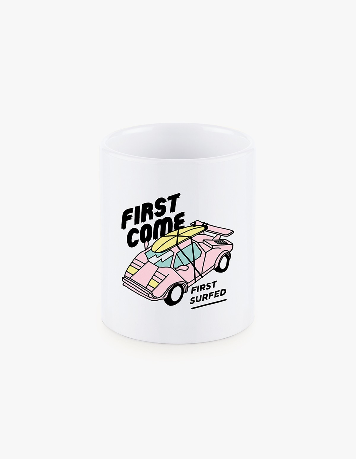Pleasant Pink Lambo Mug in White Ceramic