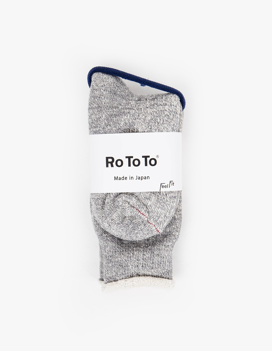 RoToTo Double Face Socks in Light Grey