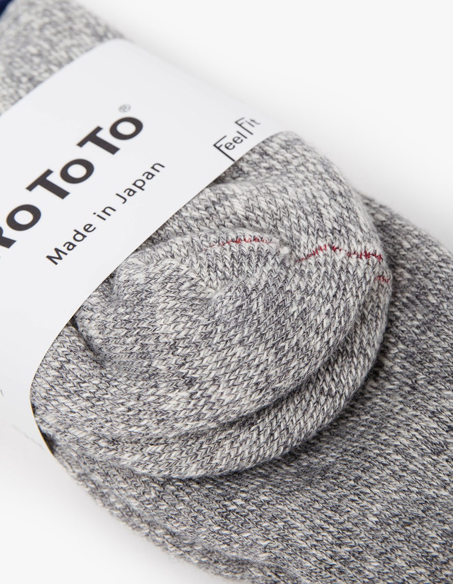 RoToTo Double Face Socks in Medium Grey