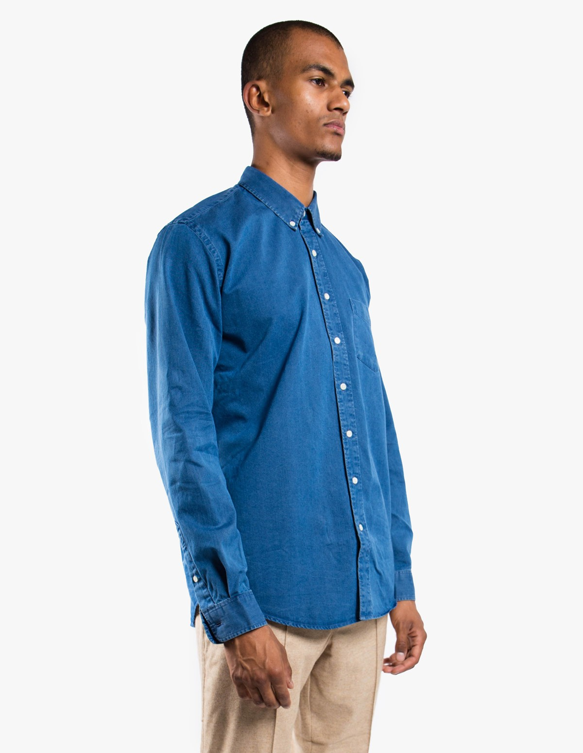 Schnayderman's Leisure Indigo Jeans Shirt in Mid Blue