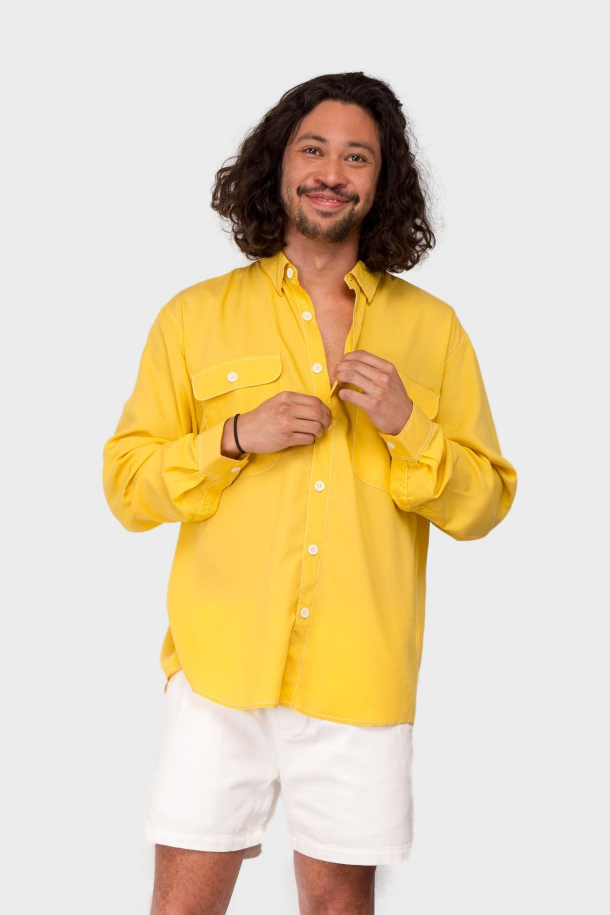 Schnayderman's Shirt Boxy Tencel in Yellow