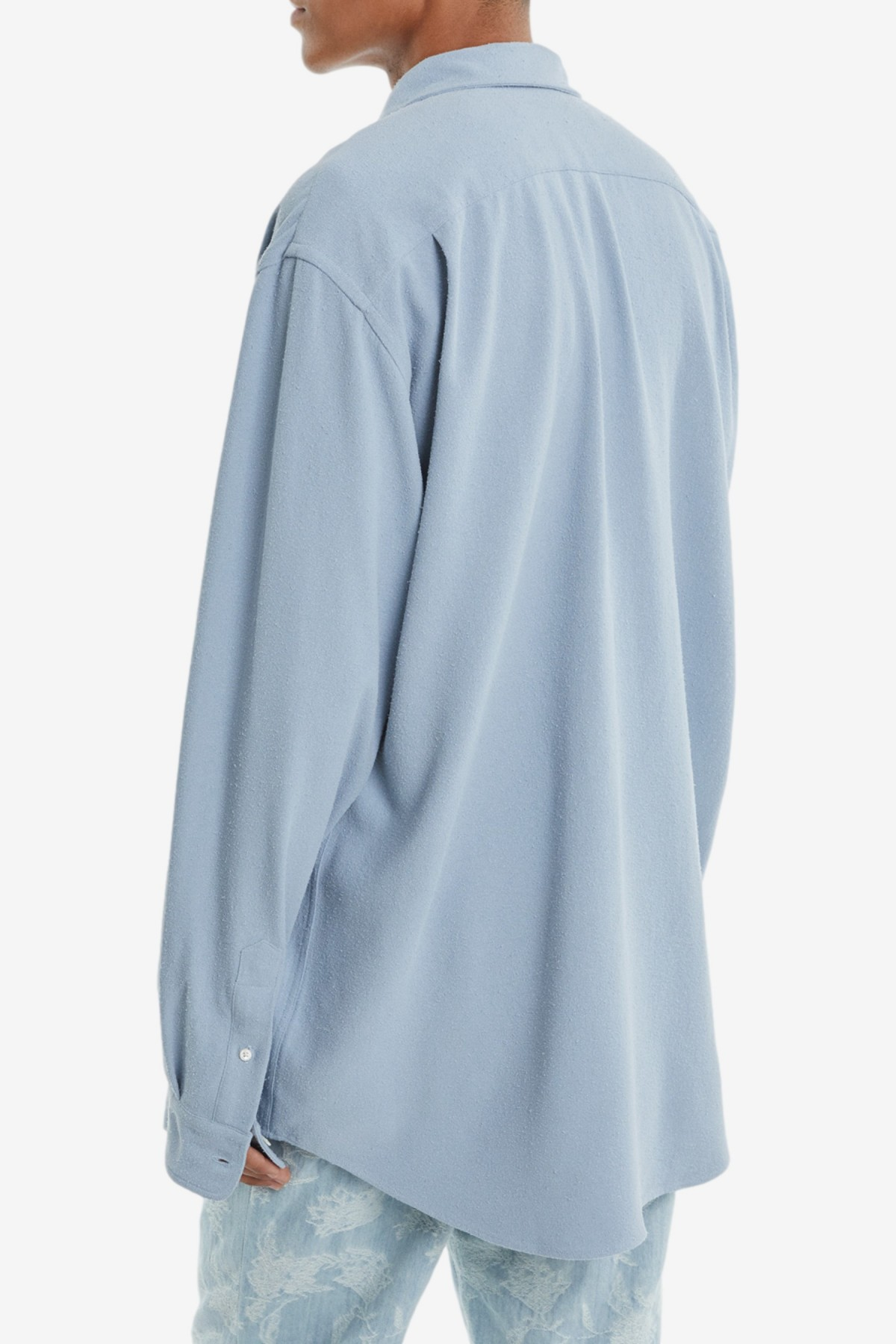 Schnayderman's Shirt Non-Binary Raw Silk GD in Dusty Blue