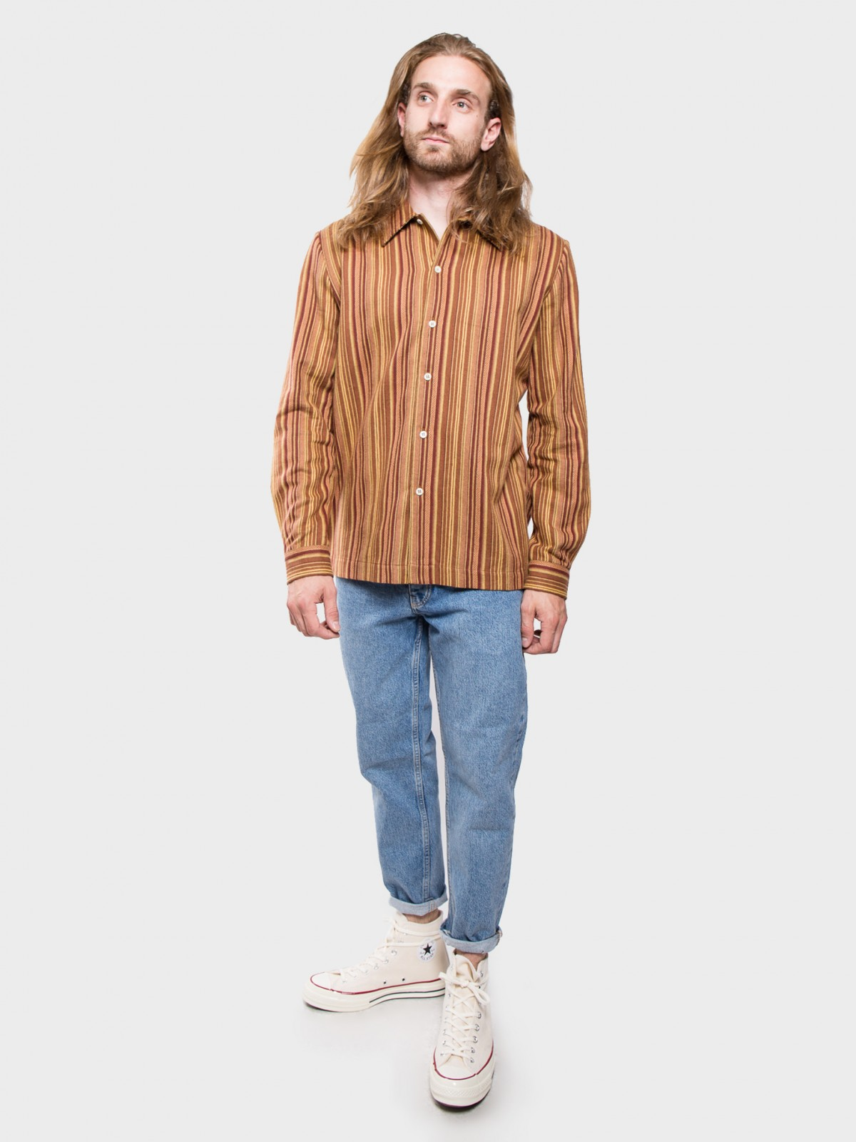 Séfr Ripley Shirt Stripe in Brown Stripes