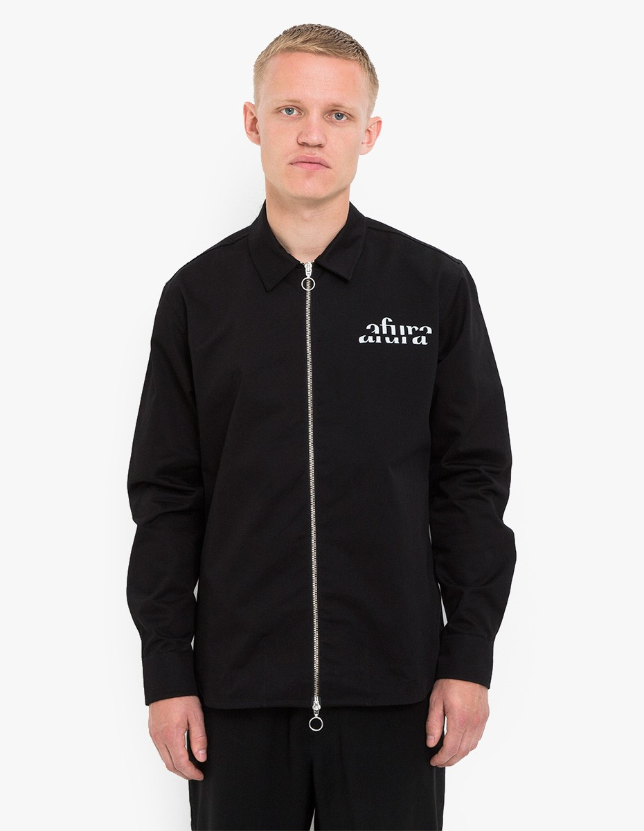 Soulland Len Coated Zip Jacket in Black