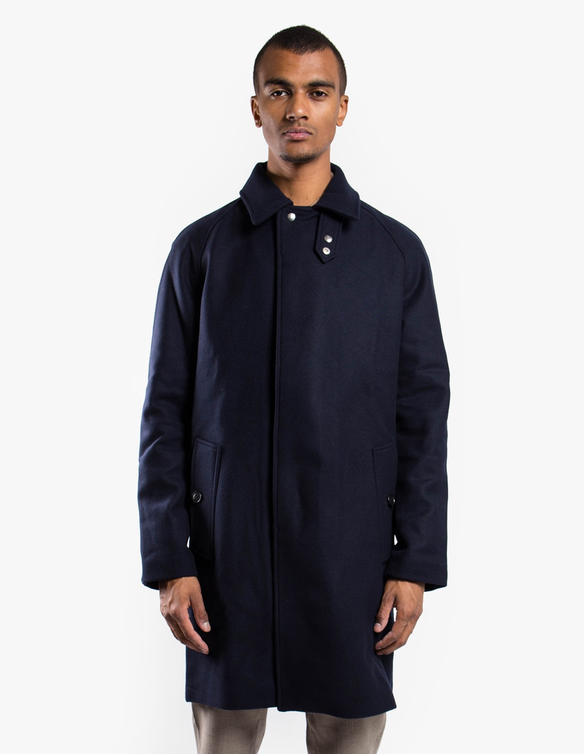 Soulland Bøge Wool Trench Coat in Navy