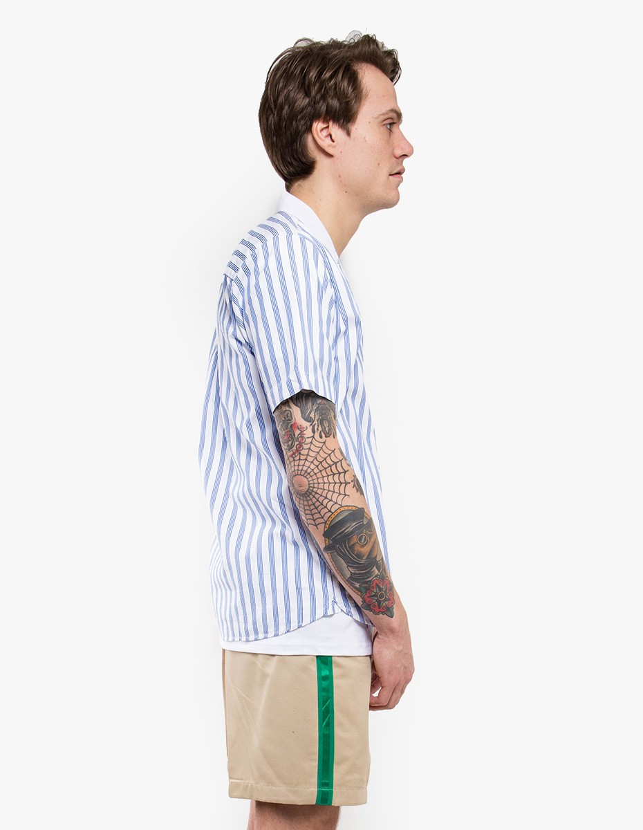 Soulland Cornwall Printed Shortsleeve Shirt in Striped Blue