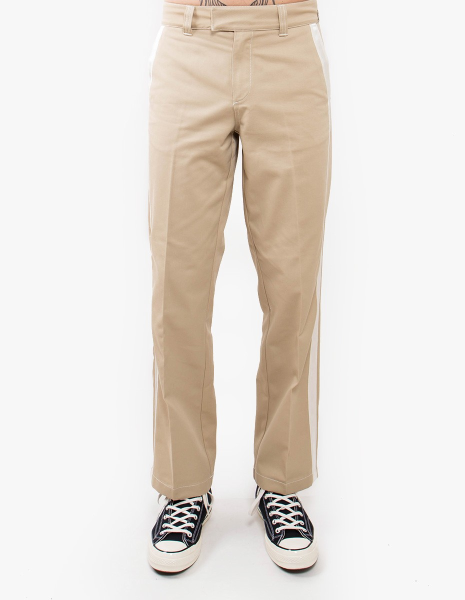 Soulland Greco Heavy Pants with Grosgrain Tape  in Light Beige