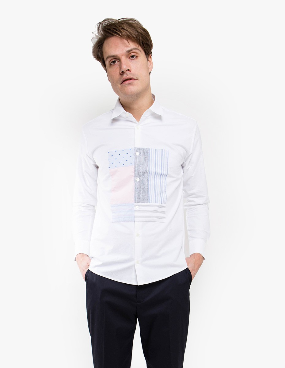 Soulland Harrison Oxford Shirt with Patchwork in White