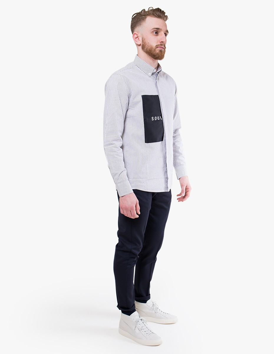 Soulland Neatherall Shirt in White / Black