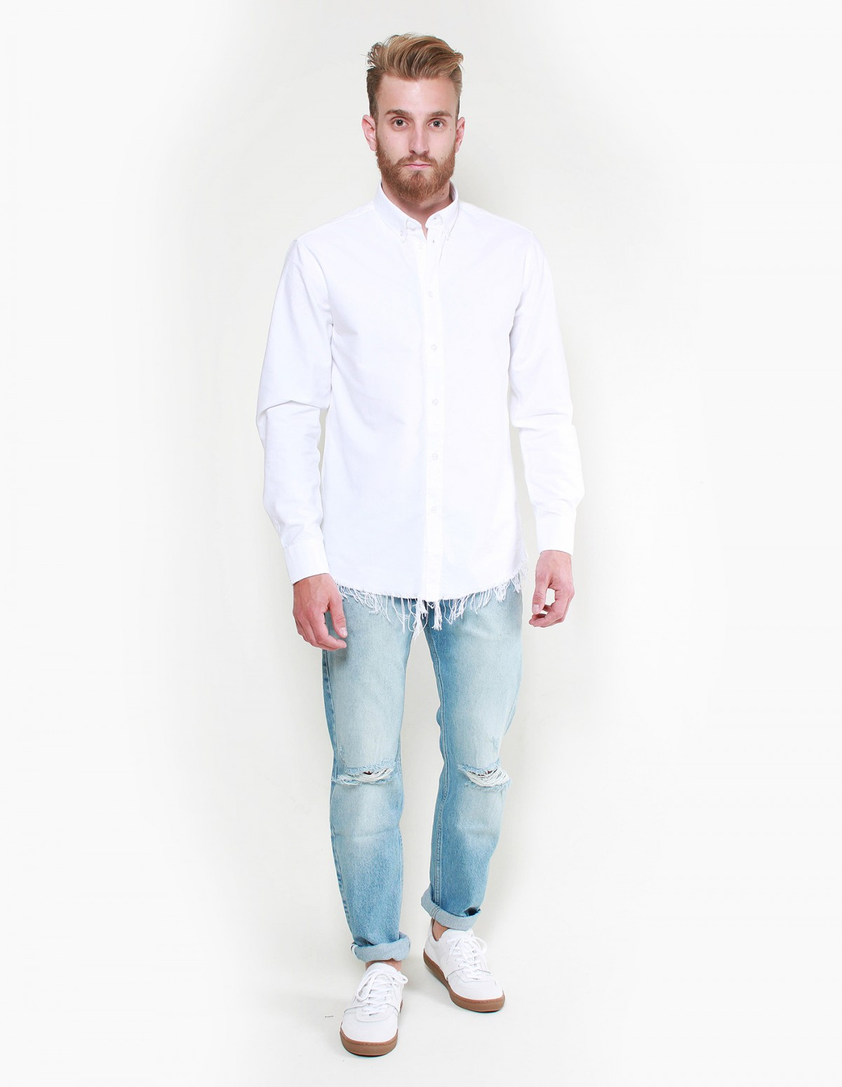 Soulland Robinson Raw Edge Shirt in Ripped White