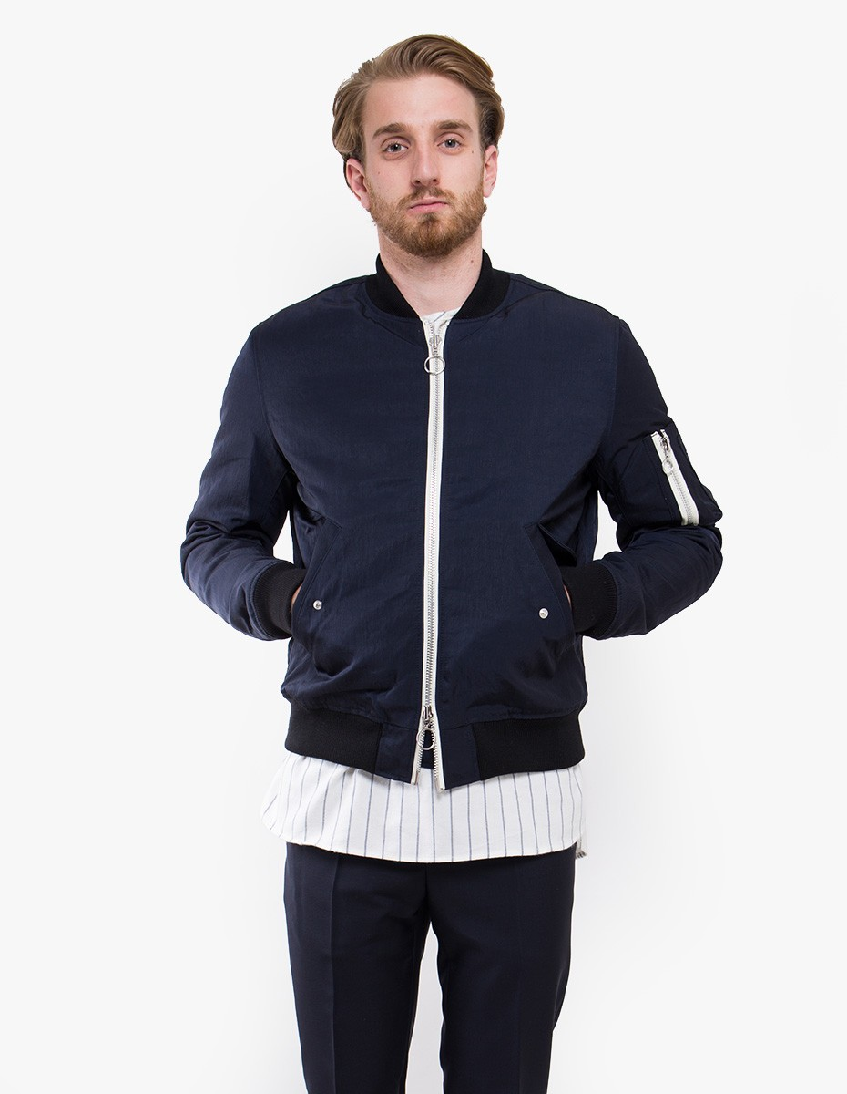 Soulland Thomasson Bomber Jacket in Navy