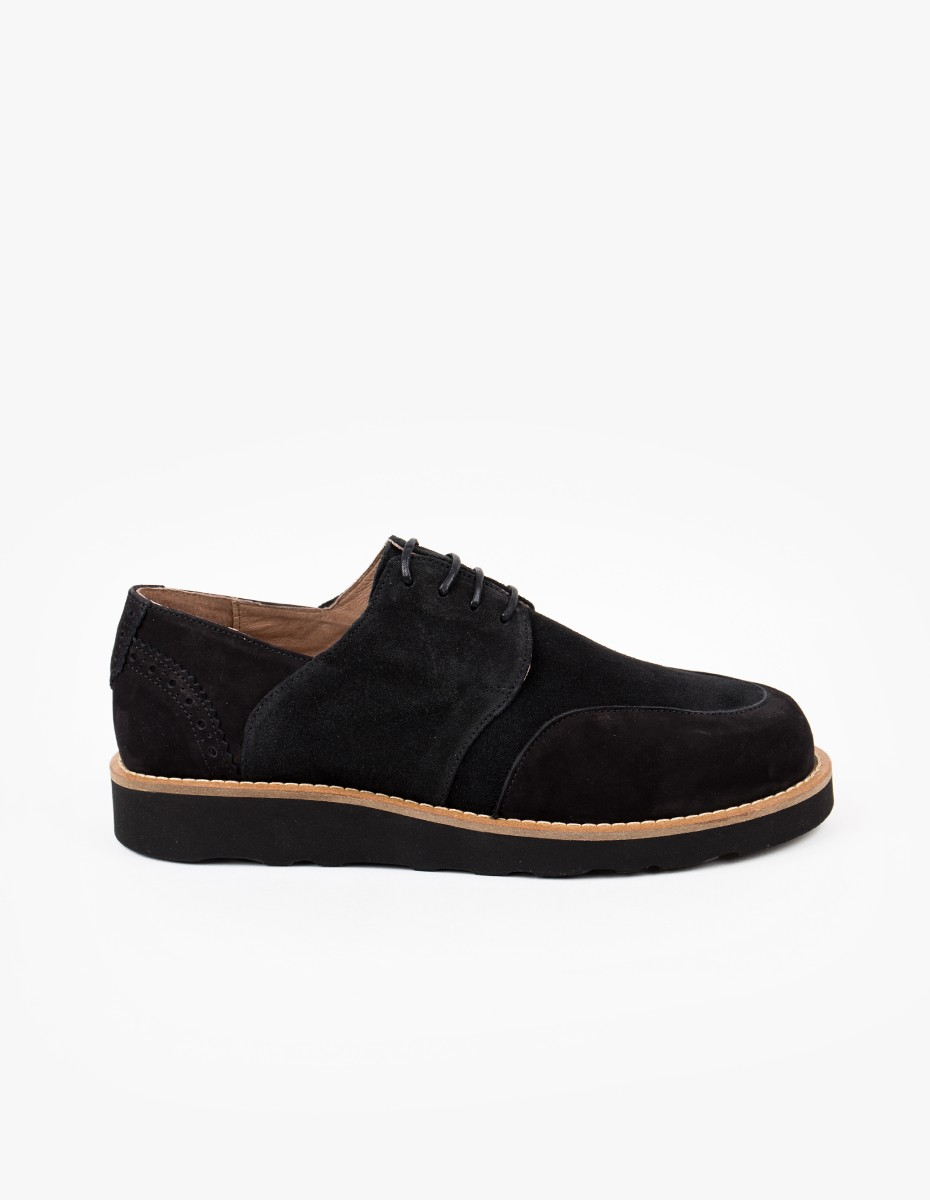 Soulland Tove Brogue Shoe in All Black Suede
