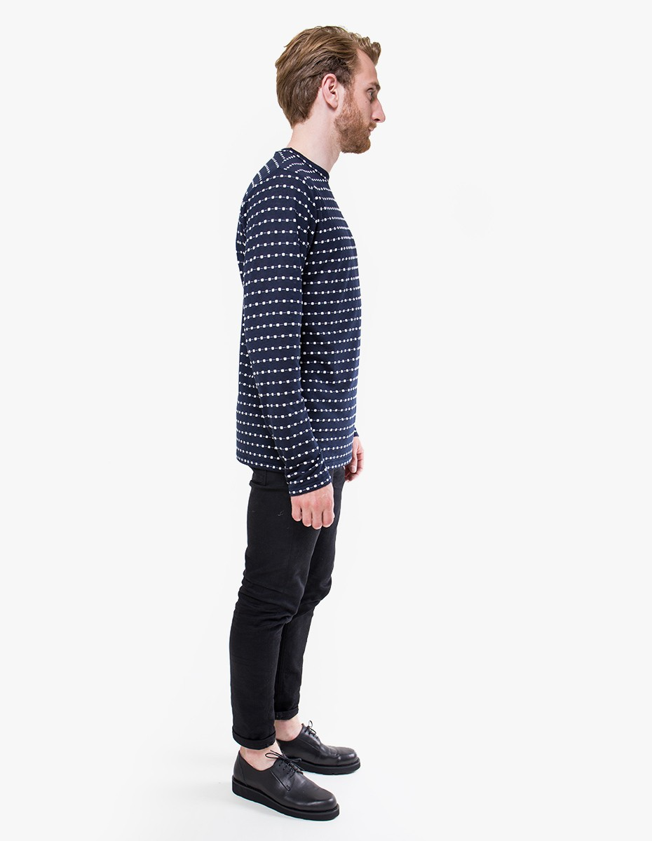 Soulland Wolfgang Longsleeve T-Shirt in Navy / White Dots