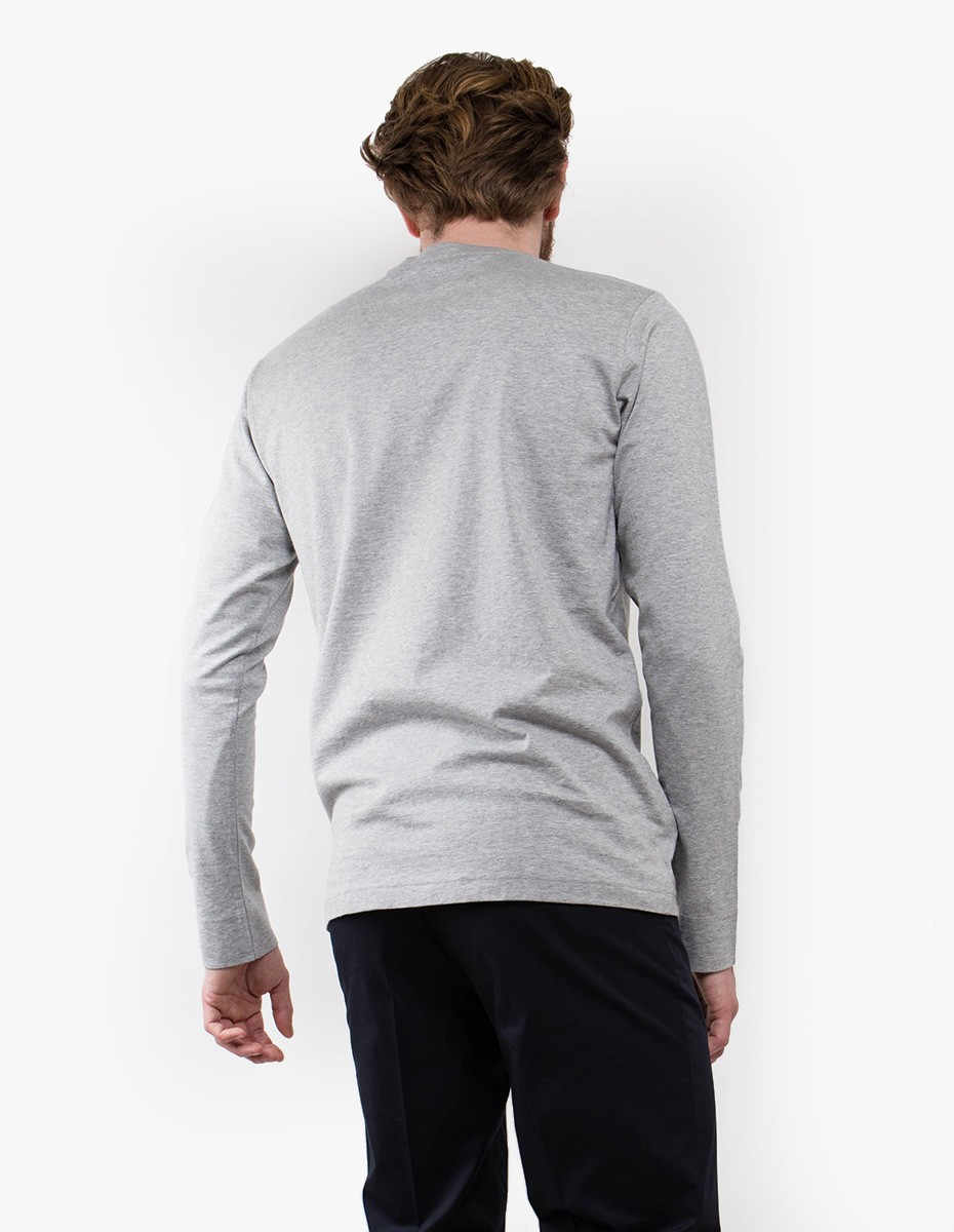 Sunspel 60's Long Sleeve Crew Neck with Pocket in Grey Melange