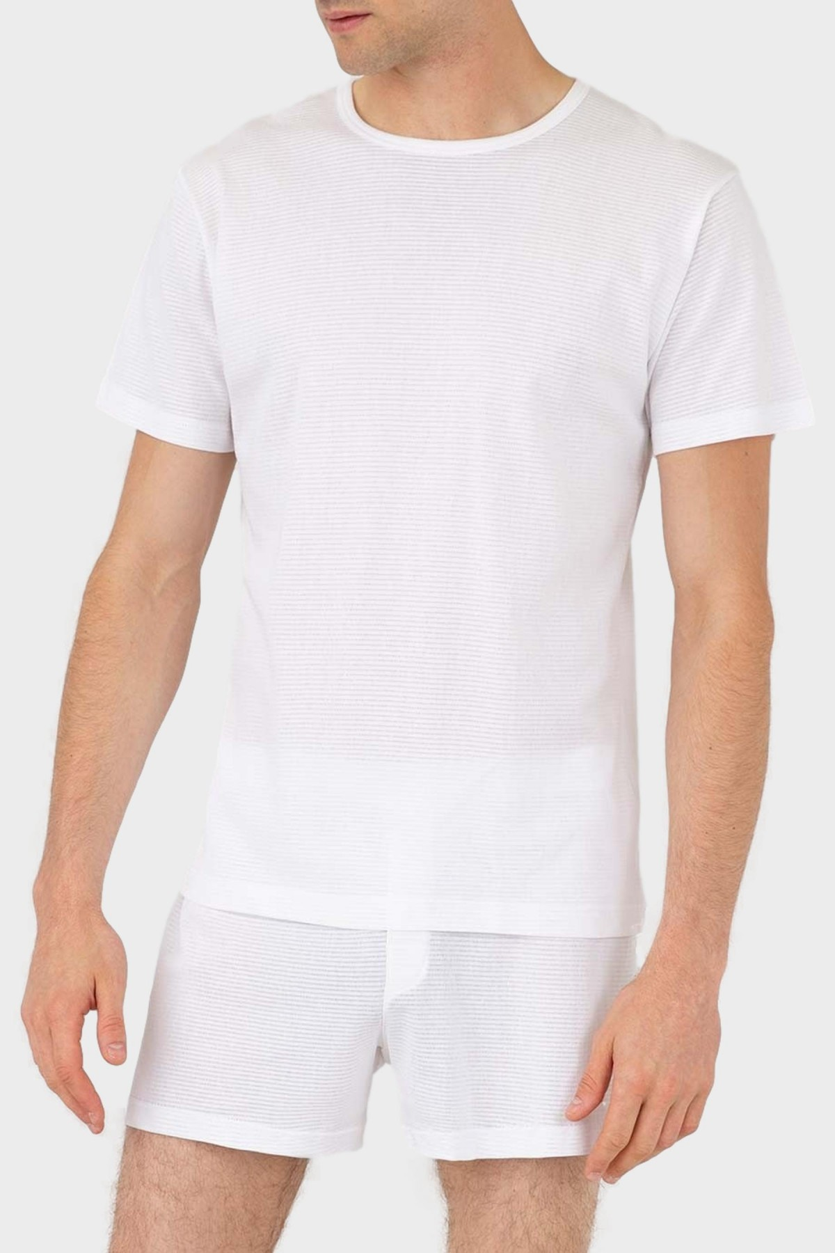 Sunspel Cellular Cotton Crew Neck T-Shirt in White