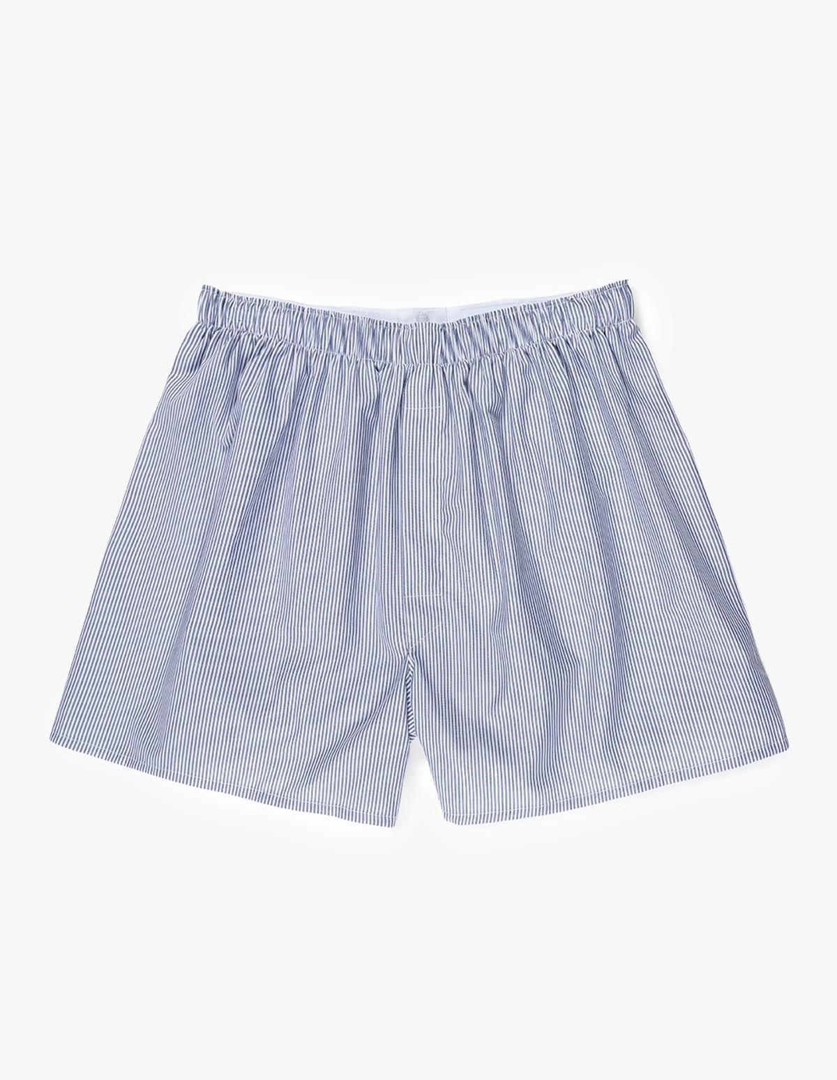 Sunspel Classic Boxer Short  in Light Blue - Pinstripe