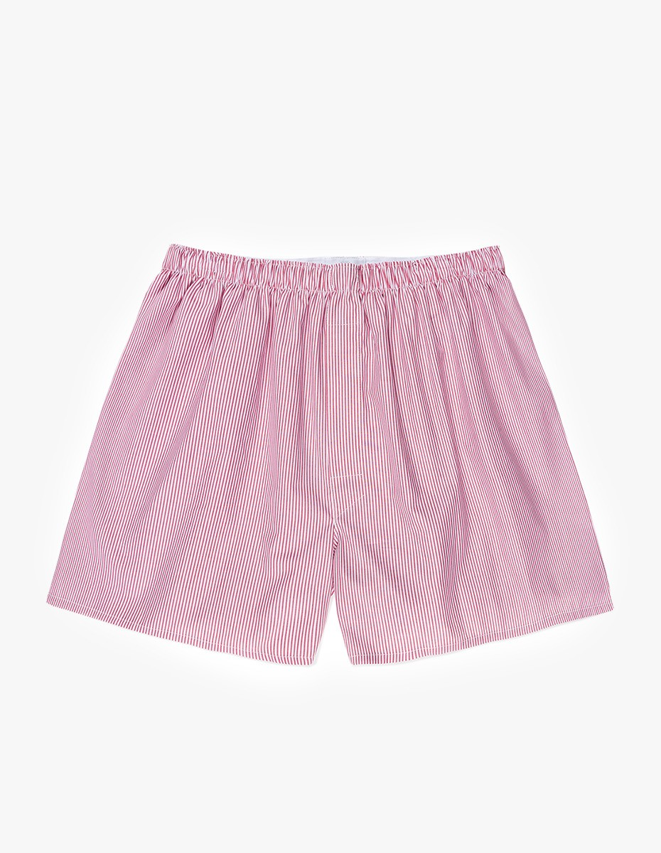 Sunspel Cotton Poplin Boxer Short in White / Red / Navy Pinstripe