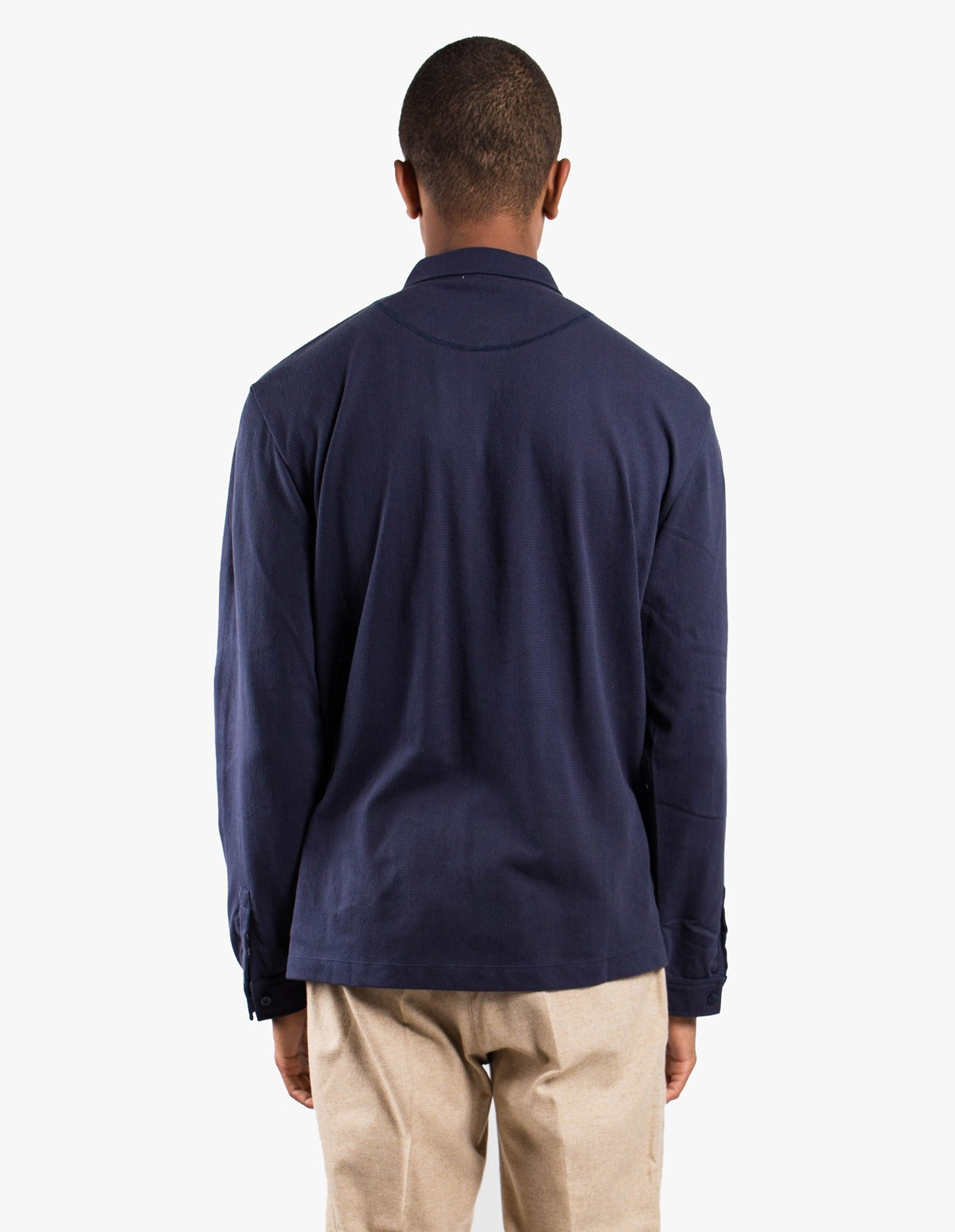Sunspel Long Sleeve - Riviera Polo  in Navy
